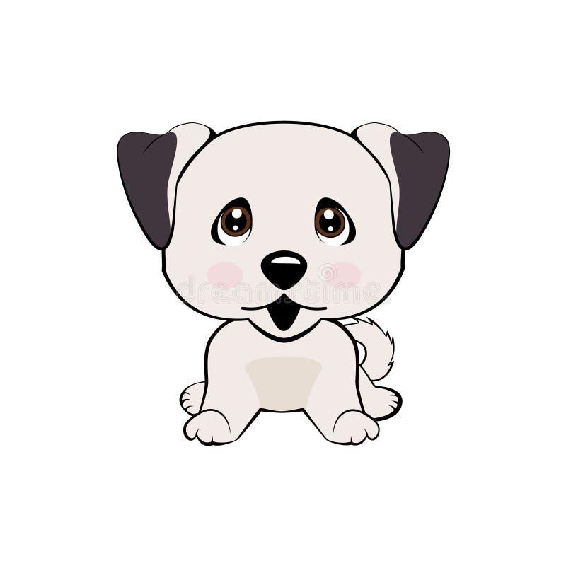 Vector el perro aislado el ejemplo común de la historieta del carácter de Emoji desconcertado, tímido y se ruboriza emoticon de l stock de ilustración