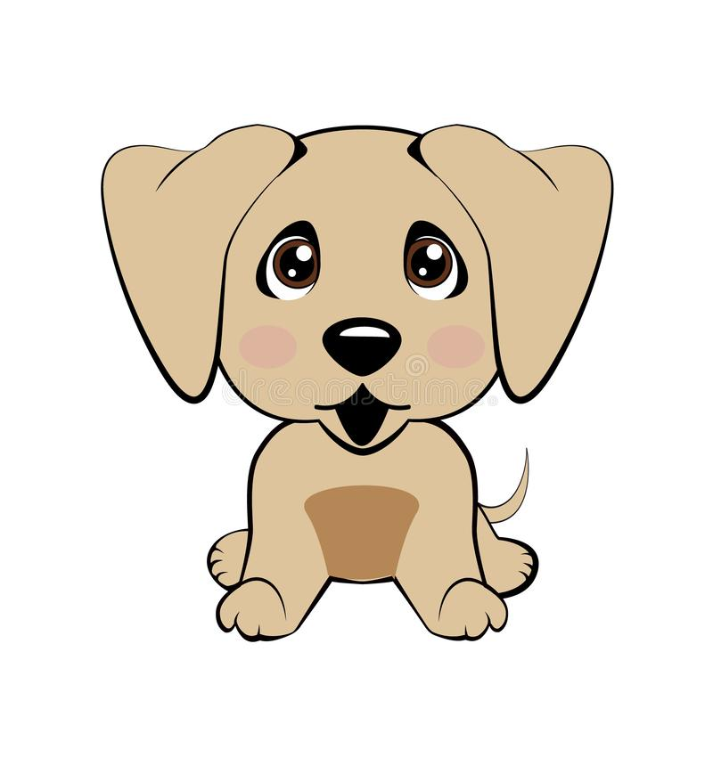 Vector el perro aislado el ejemplo común de la historieta del carácter de Emoji desconcertado, tímido y se ruboriza emoticon de l libre illustration