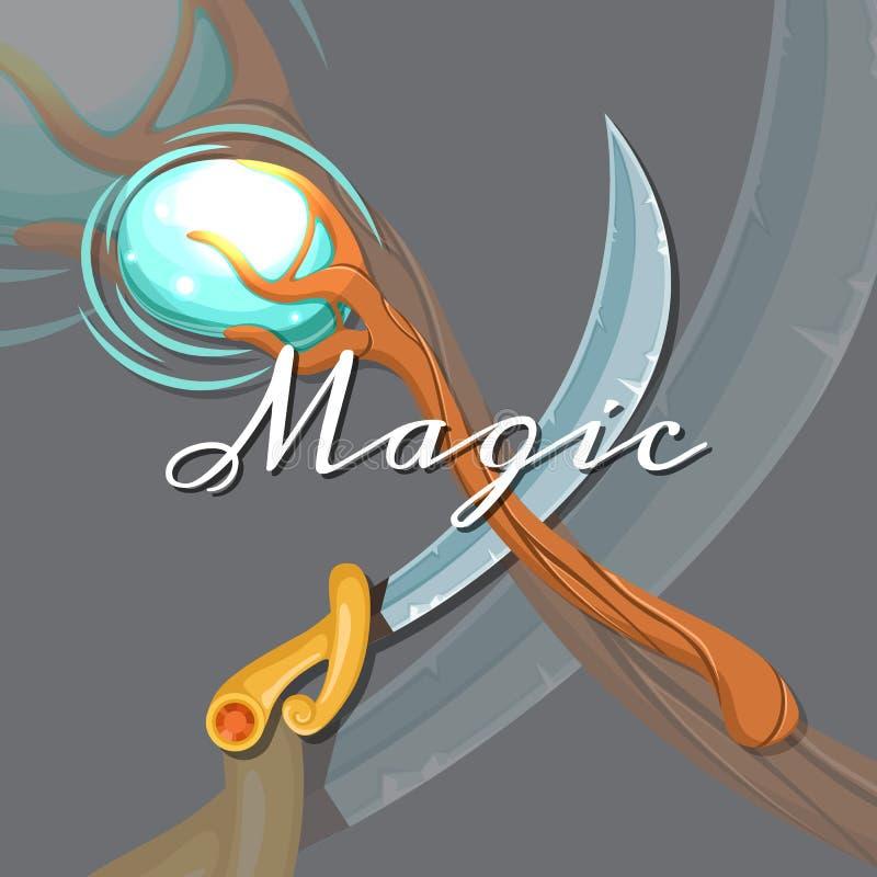 Vector el personal y la espada mágicos cruzados medievales del diseño de juego del estilo de la historieta de la fantasía stock de ilustración