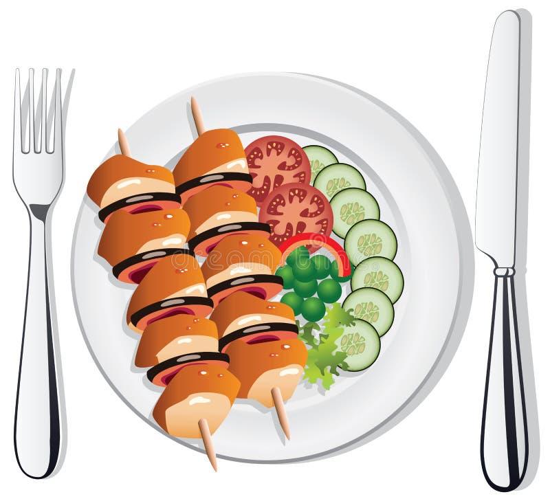 vector el pollo, los vehículos, la fork y el cuchillo ilustración del vector