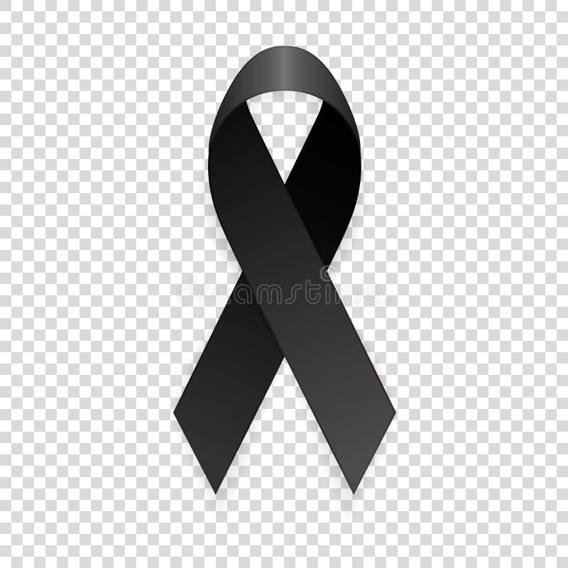 Vector el primer negro realista del icono de la cinta de la conciencia 3d aislado en fondo de la rejilla de la transparencia Luto libre illustration