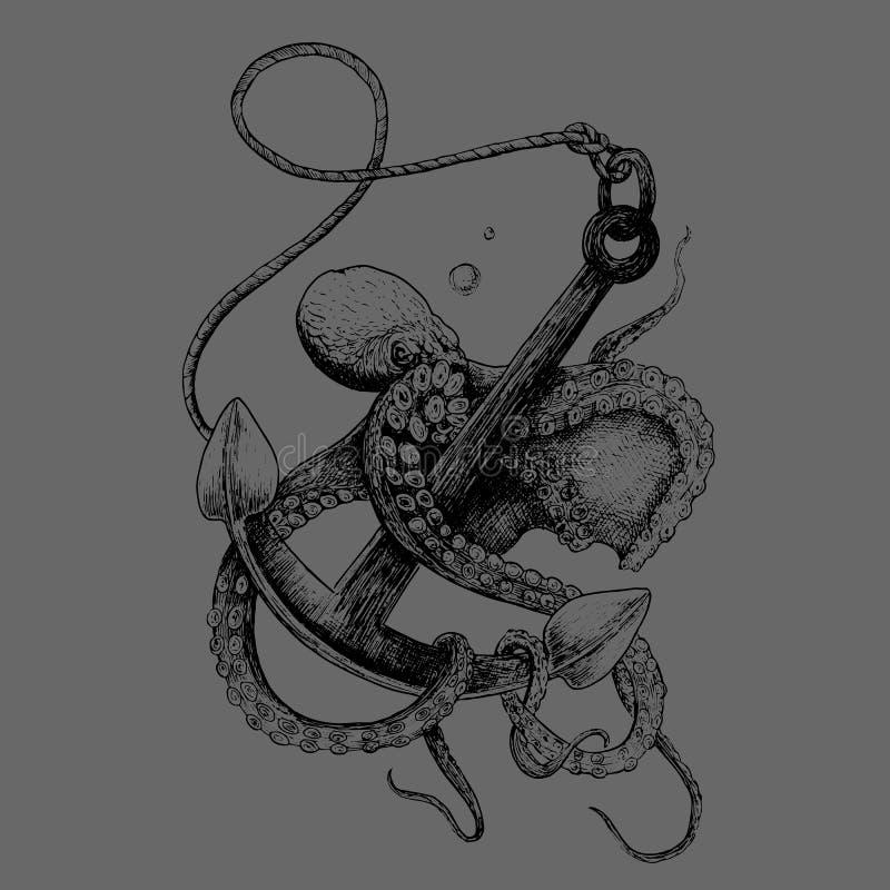 Vector el pulpo con el ancla de mar pintada en estilo del grabado stock de ilustración