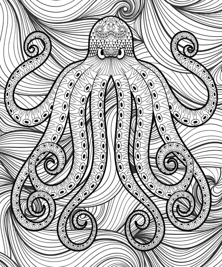 Vector El Pulpo Del Zentangle En El Mar, Impresión Para La Página ...