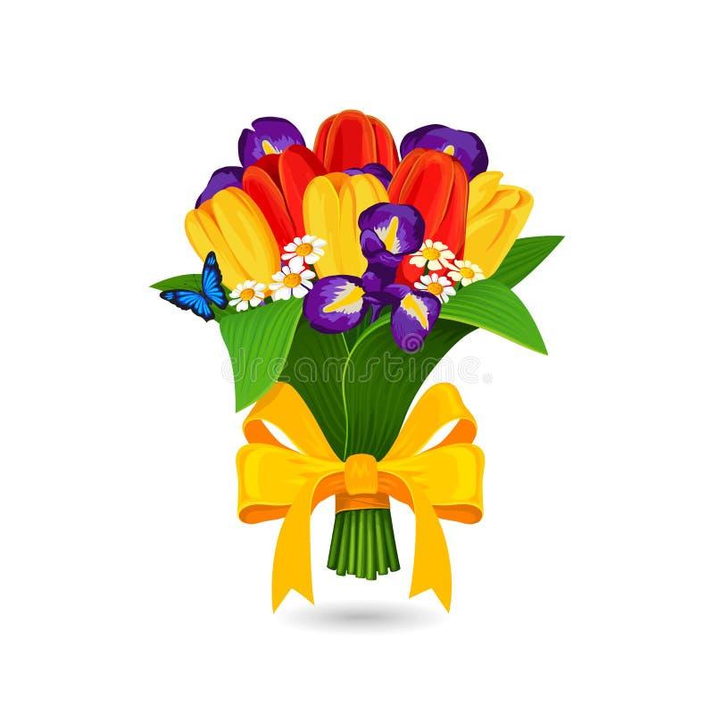 Vector el ramo de tulipán y de azul rojos, amarillos libre illustration