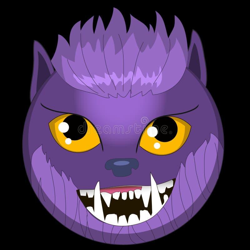 Vector el regalo sonriente EPS ai del amante del wolfman de los emoticons del hombre lobo de la cara del emoji de los monstruos d fotos de archivo