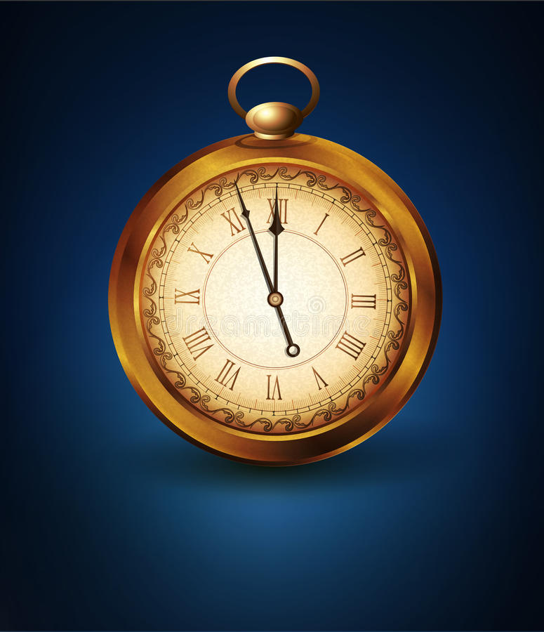 Vector el reloj de bolsillo del vintage en un fondo azul libre illustration
