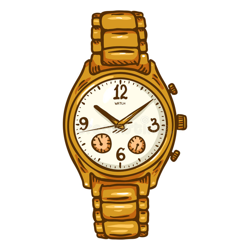 Vector el reloj para hombre clásico de la historieta con la banda de reloj metálica fotografía de archivo