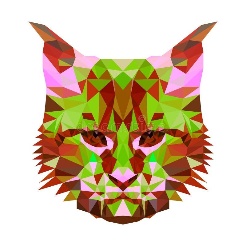 Vector el retrato abstracto polivinílico bajo de un gato abigarrado Retratos simétricos de animales Ejemplo del vector, tarjeta,  stock de ilustración