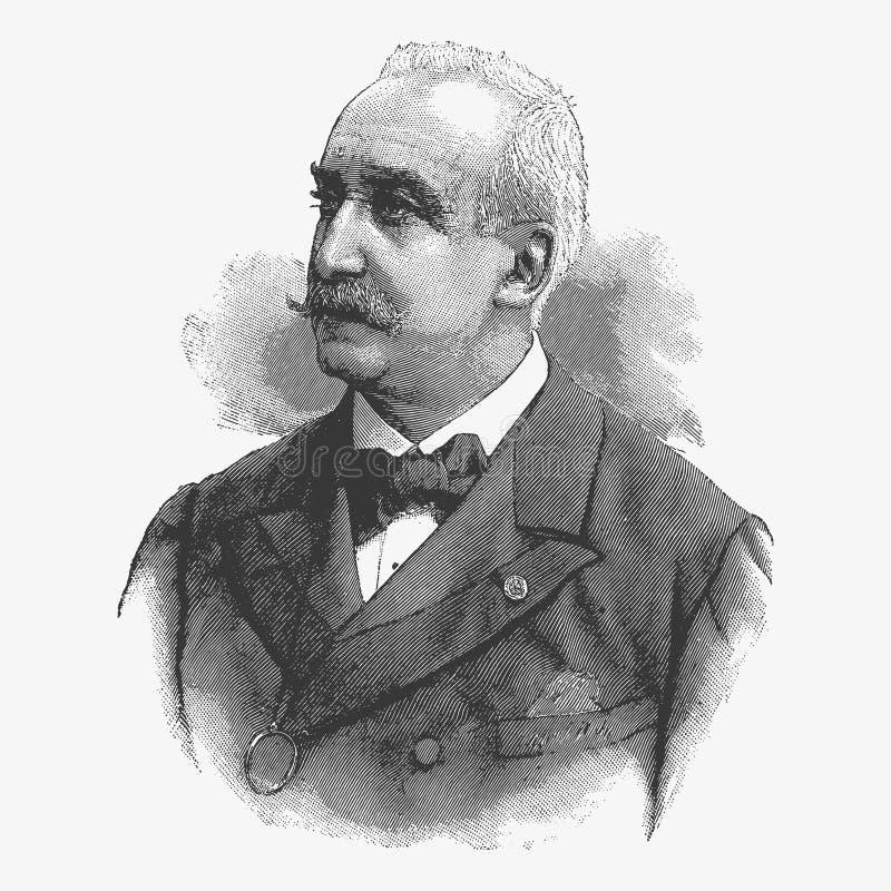 Vector el retrato de Felix Faure, presidente anterior del grabado de ilustración del vector
