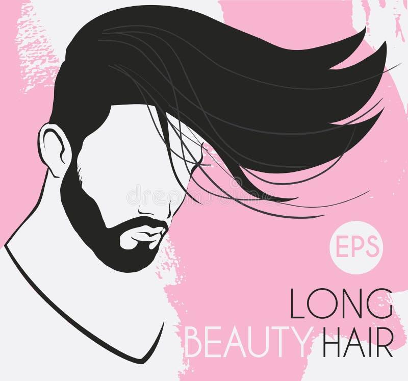 Vector el retrato de un hombre con una barba con el pelo largo hermoso, línea lisa, torcida fondo es puntos rosados, tarjeta ilustración del vector