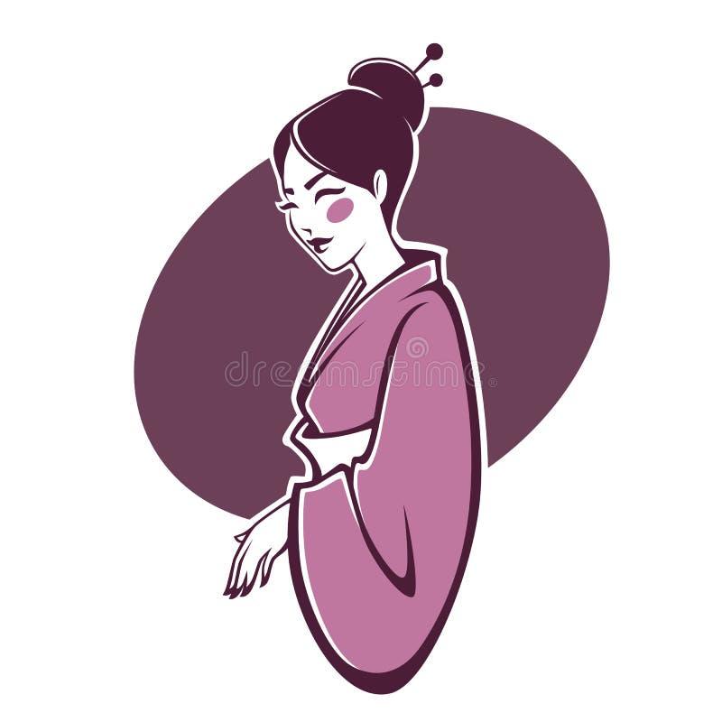 Vector el retrato del geisha hermoso, para su logotipo, etiqueta, emble libre illustration