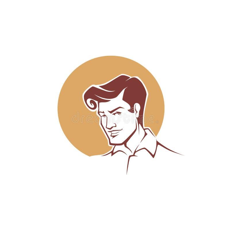 Vector el retrato del hombre joven hermoso en el estilo retro para su lo ilustración del vector