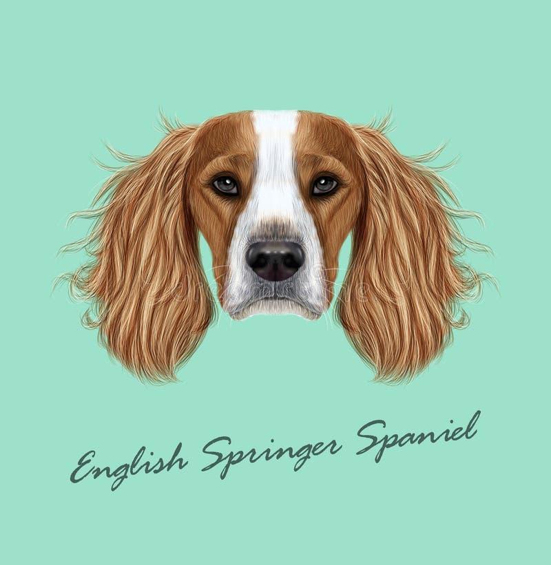 Vector el retrato ilustrado del perro del perro de aguas de saltador inglés ilustración del vector