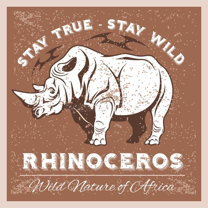 Vector el rinoceronte estilizado en el estilo del vintage para el logotipo, la etiqueta, la insignia, las camisetas y otra diseño stock de ilustración