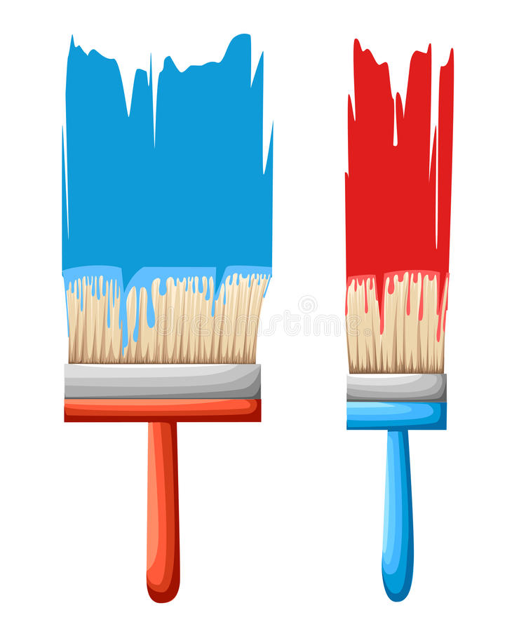 Vector el rodillo y las brochas con los instrumentos del pintor de los colores Ejemplo casero del proceso del trabajo aislado en  ilustración del vector