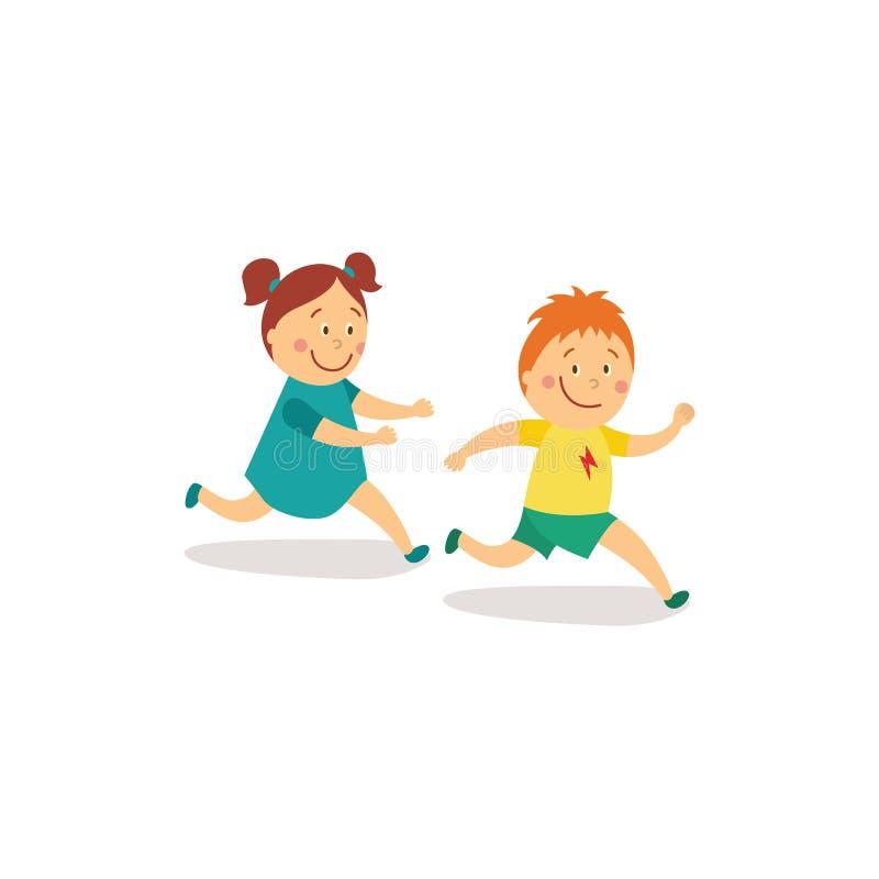 Vector el runnin plano de la muchacha y del muchacho, puesta al día libre illustration