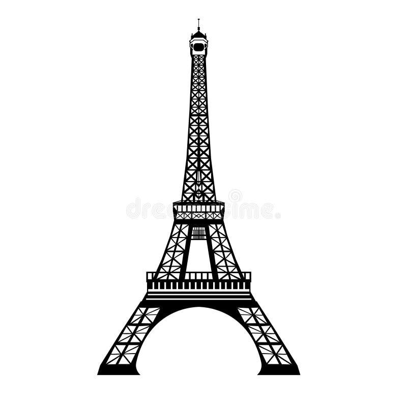 Vector el símbolo dibujado mano negra de la señal de la torre de Eifel de la tinta de París, Francia Grande para las invitaciones ilustración del vector