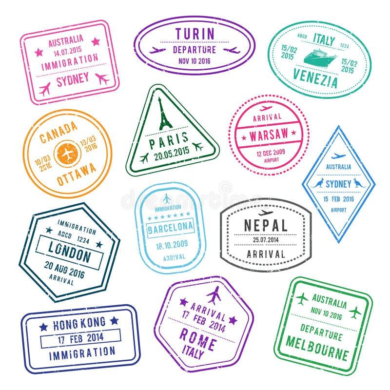 Vector el sello en el pasaporte para viajar o la inmigración Las imágenes fijadas aíslan en blanco libre illustration