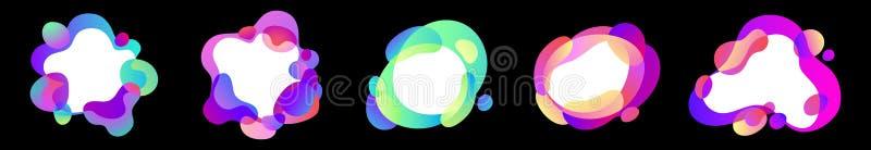 Vector el sistema abstracto de formas libres del efecto líquido en colores iridiscentes de la pendiente con las líneas y las form stock de ilustración