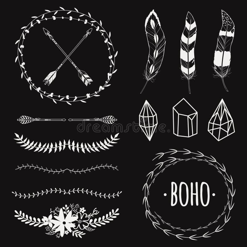 Vector el sistema blanco y negro étnico con las flechas, plumas, cristal libre illustration