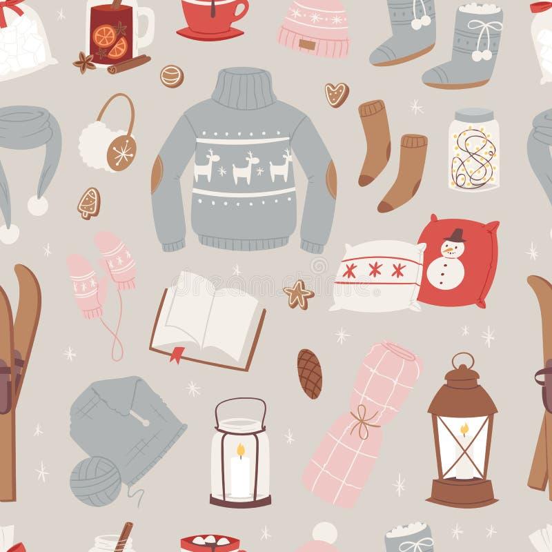Vector el sistema caliente de la ropa del invierno del sombrero, bufanda, suéter, invierno de la ropa del diseño del suéter del e ilustración del vector
