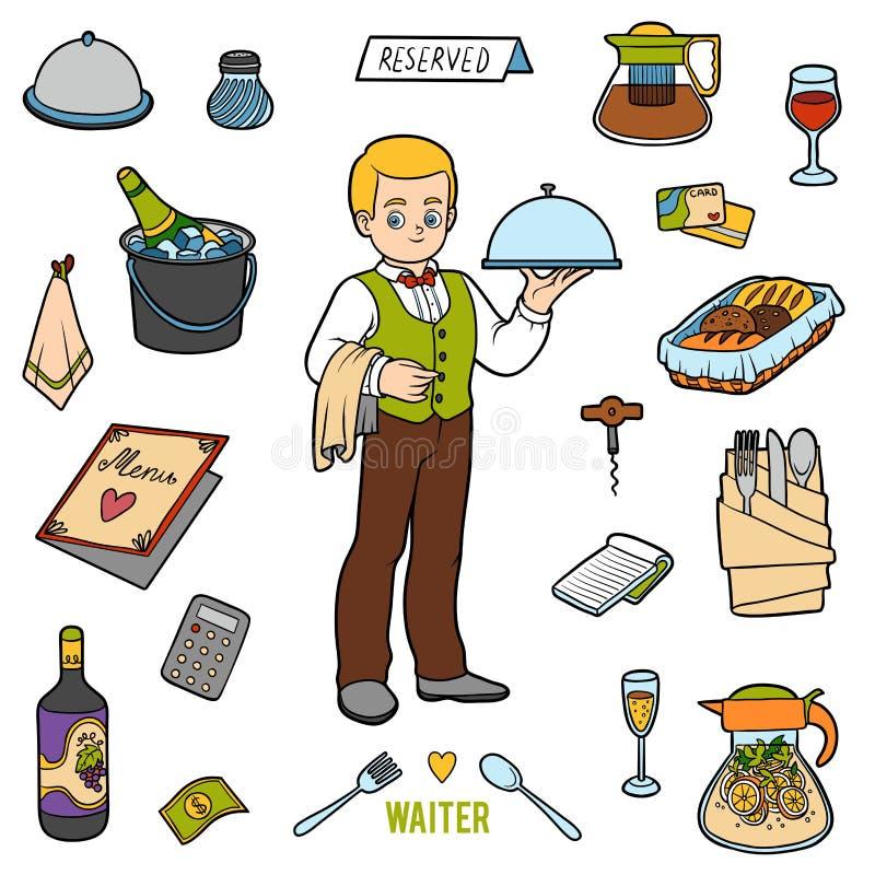 Vector el sistema de color con el camarero y los objetos del restaurante stock de ilustración