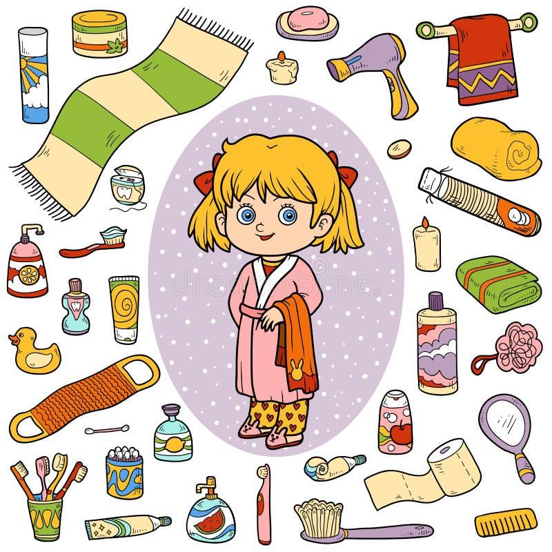 Vector el sistema de color de los objetos, de la muchacha y de la albornoz del cuarto de baño stock de ilustración