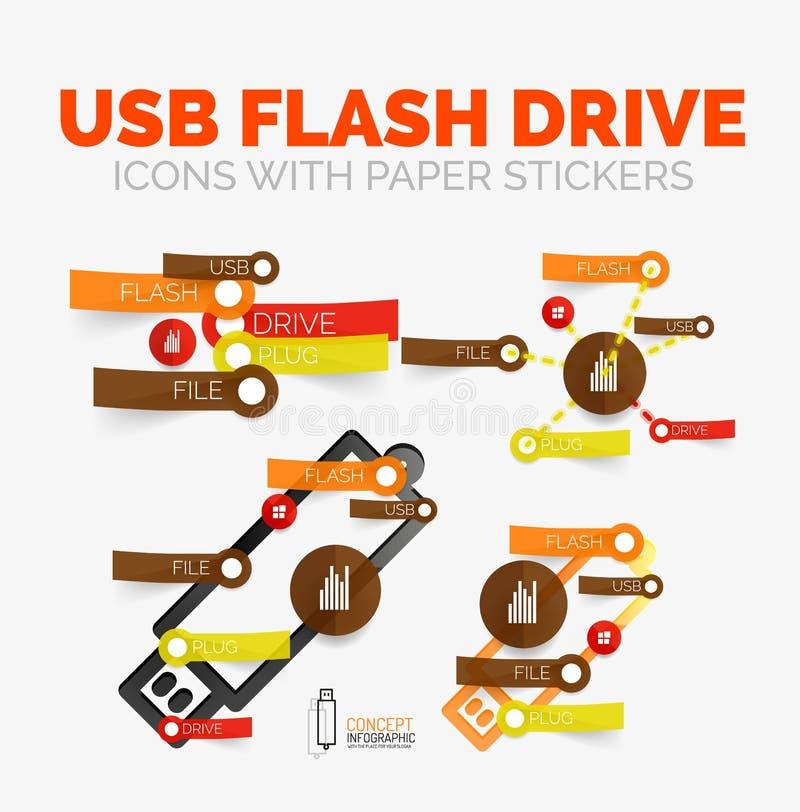 Vector el sistema de elementos del diagrama de iconos de memoria USB con las etiquetas engomadas de papel plásticas del estilo pa ilustración del vector