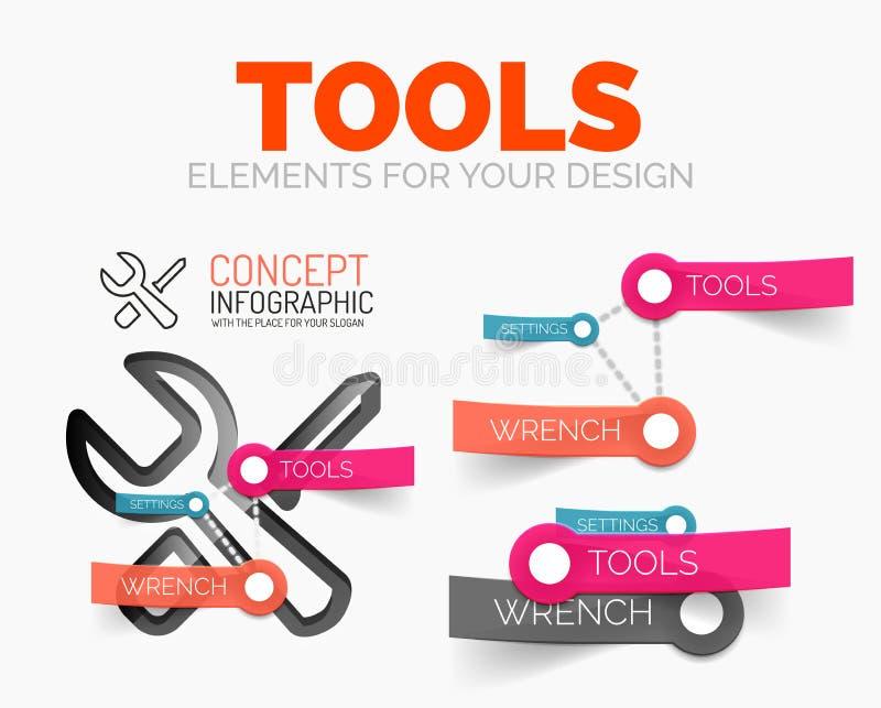 Vector el sistema de elementos del diagrama de iconos del concepto de las herramientas con las etiquetas engomadas de papel plást ilustración del vector
