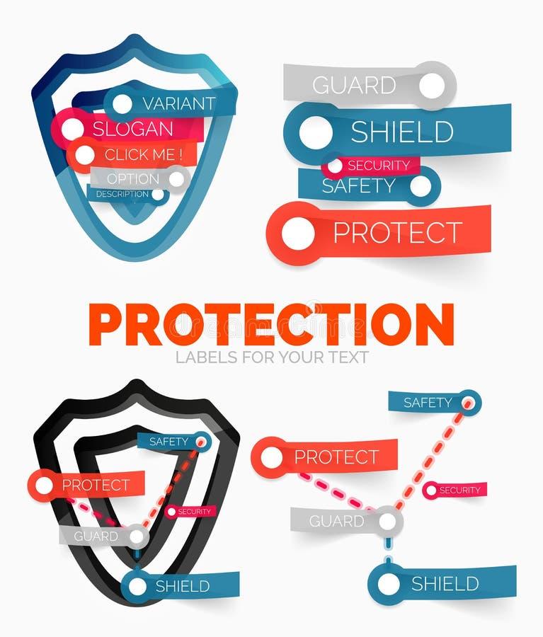 Vector el sistema de elementos del diagrama de iconos del concepto del escudo de la protección y de la seguridad ilustración del vector