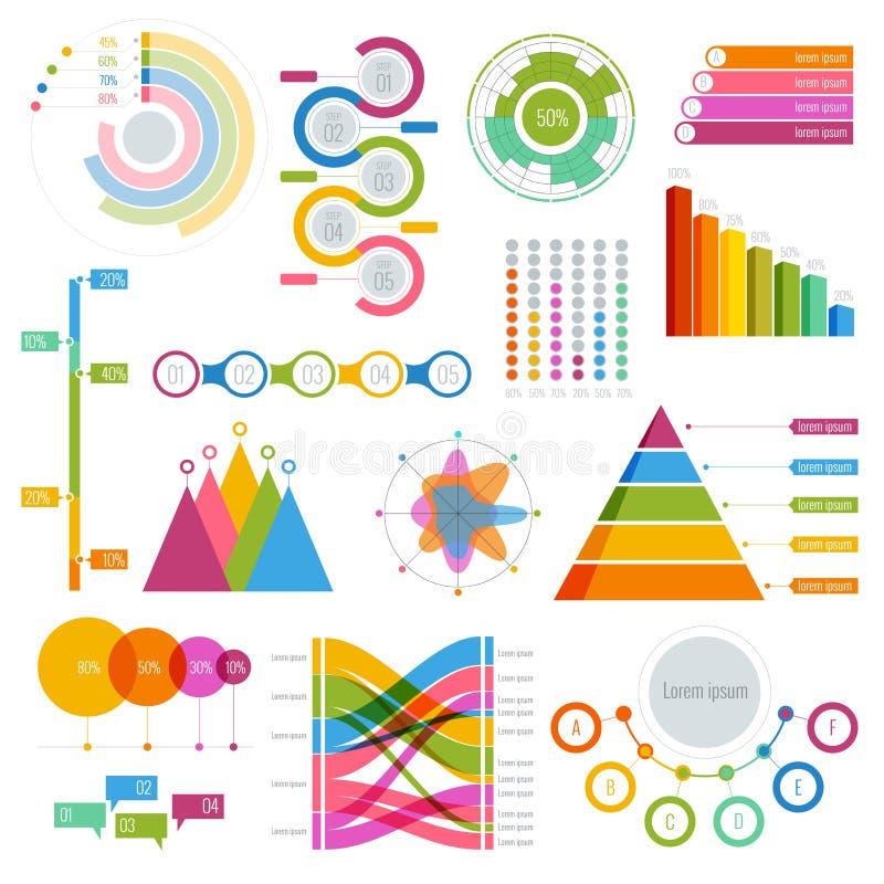 Vector el sistema grande de gráficos de los elementos del infographics coloridos para la exhibición libre illustration