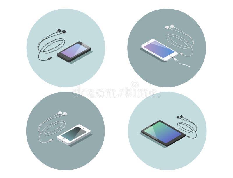 Vector el sistema isométrico de dispositivos electrónicos, smartphone con los auriculares libre illustration