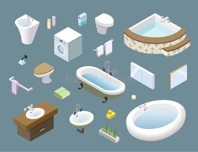 Vector el sistema isométrico de los muebles del cuarto de baño, iconos del hogar del diseño interior 3d ilustración del vector