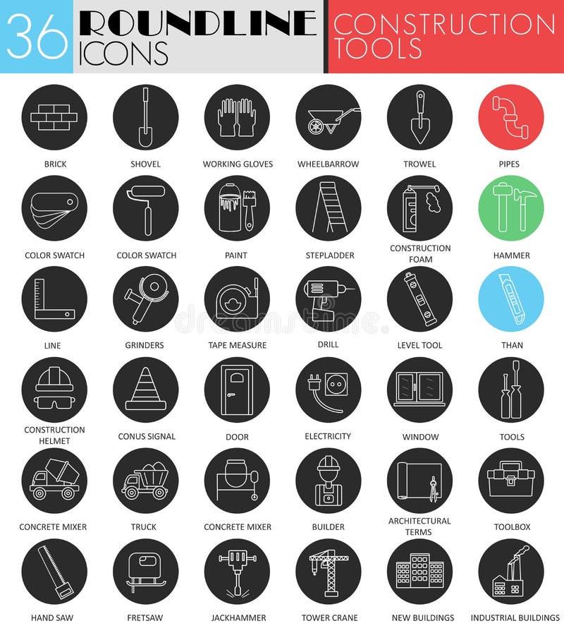 Vector el sistema negro blanco del icono del círculo de las herramientas del edificio y de la construcción Línea moderna diseño d ilustración del vector