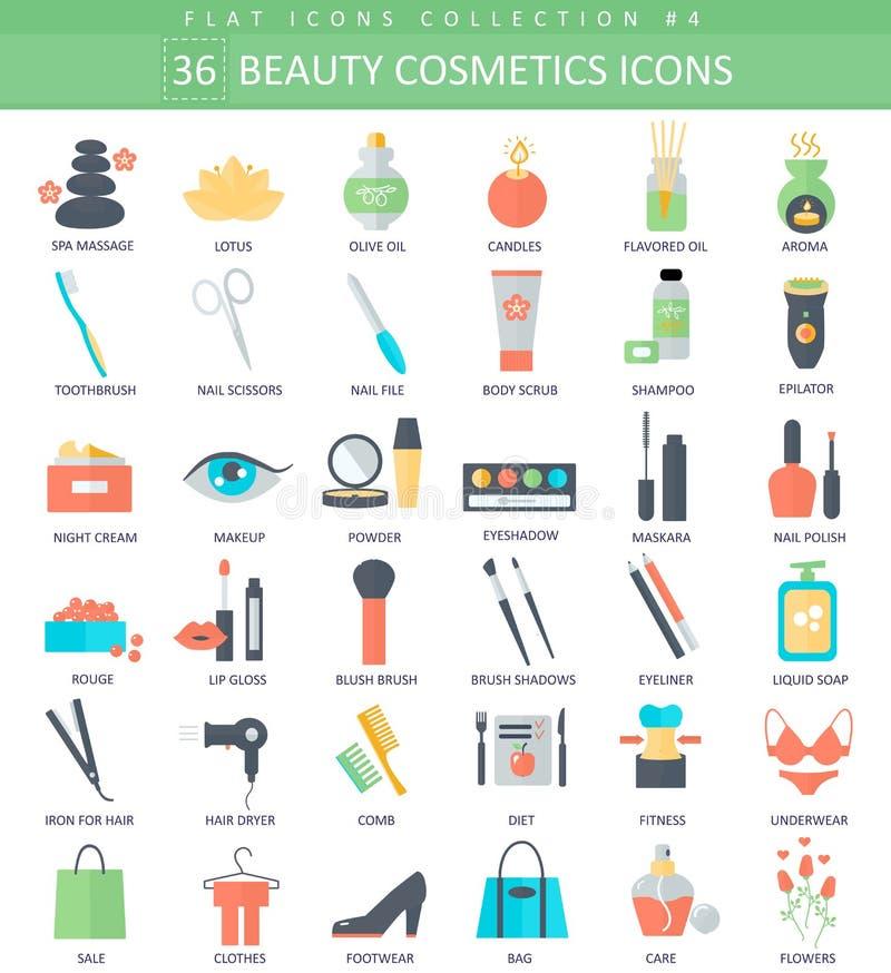 Vector el sistema plano de la belleza y del icono del color de los cosméticos Diseño del estilo elegante ilustración del vector