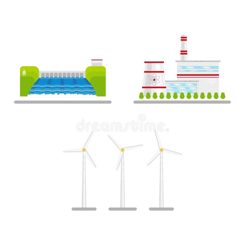 Vector el sistema plano del icono de la energía renovable, alternativa ilustración del vector