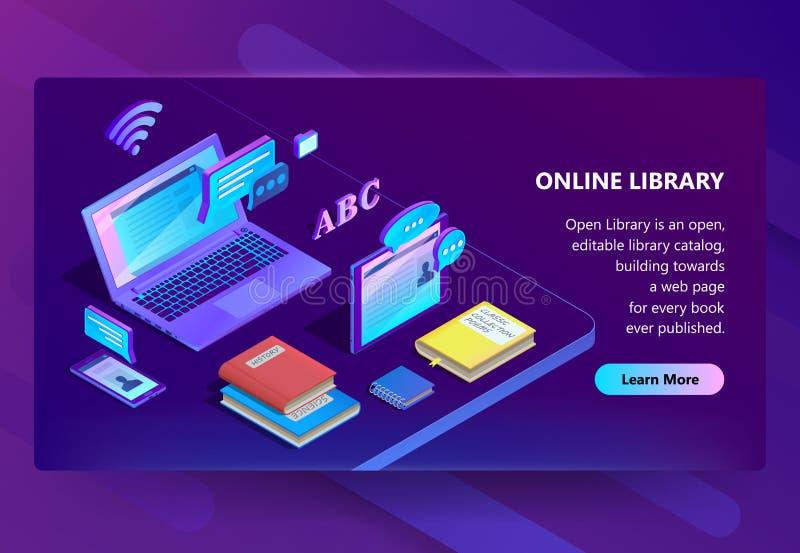Vector el sitio con la biblioteca en línea, portal del aprendizaje electrónico stock de ilustración