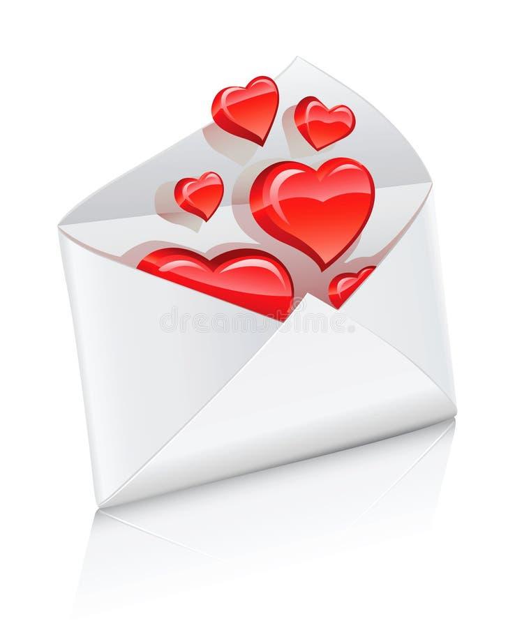 Vector el sobre del correo del icono abierto con los corazones del amor stock de ilustración