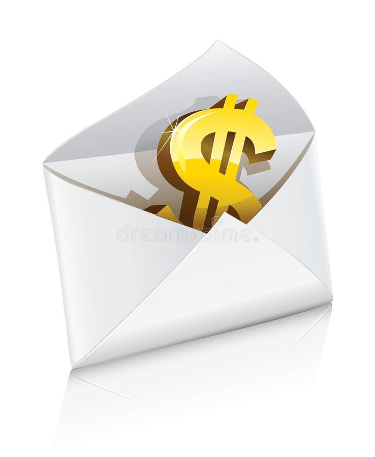 Vector el sobre del correo del icono con la muestra de dólar ilustración del vector