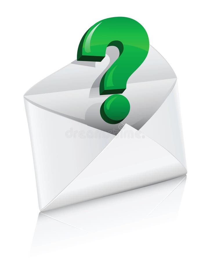 Vector el sobre del correo del icono con la muestra de la pregunta stock de ilustración