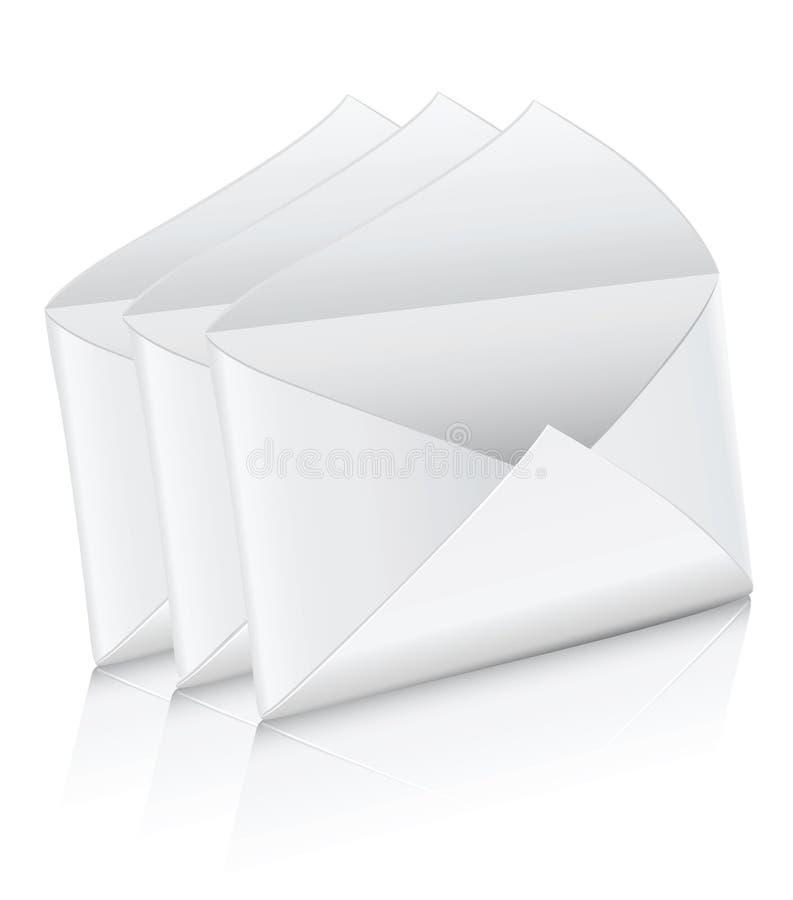 Vector el sobre vacío blanco del correo del icono tres abierto stock de ilustración