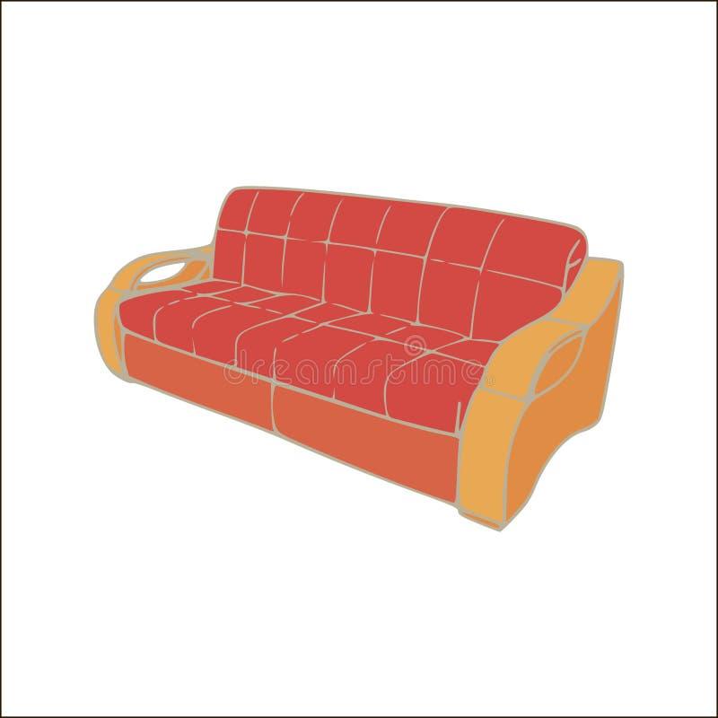 Vector el sofá con decorativo para la sentada del salón o el ejemplo realista del diseño del hogar de la sala de estar Muebles do libre illustration