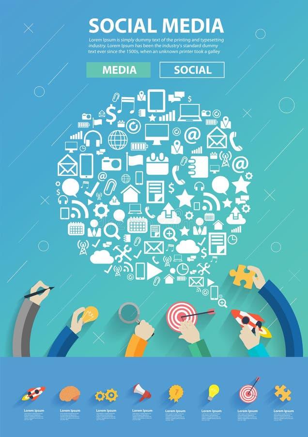Vector el software empresarial de conexión de la gente y el medios establecimiento de una red social stock de ilustración
