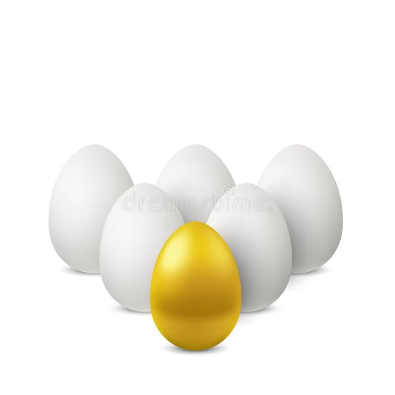 Vector el solos huevo y grupo de oro de huevos blancos detrás ilustración del vector