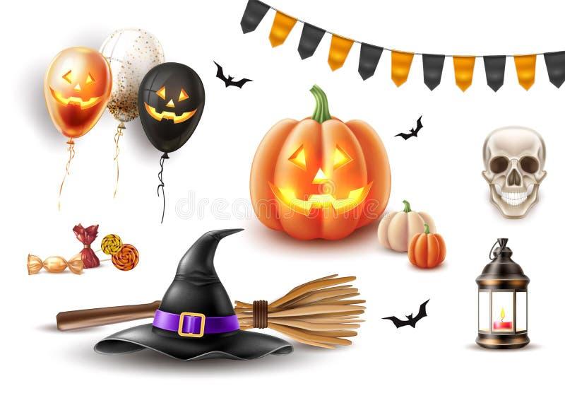 Vector el sombrero de la bruja del cartel de Halloween, globo de la escoba stock de ilustración