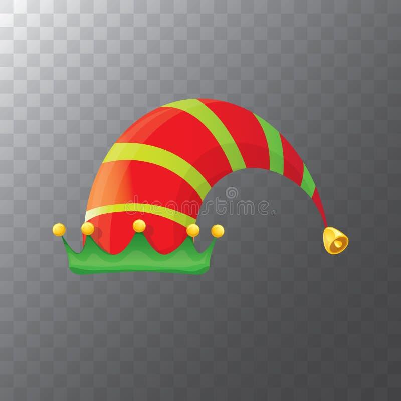 Vector el sombrero rojo y verde enrrollado del duende de la Navidad de la historieta pelada aislado en fondo transparente el vect stock de ilustración
