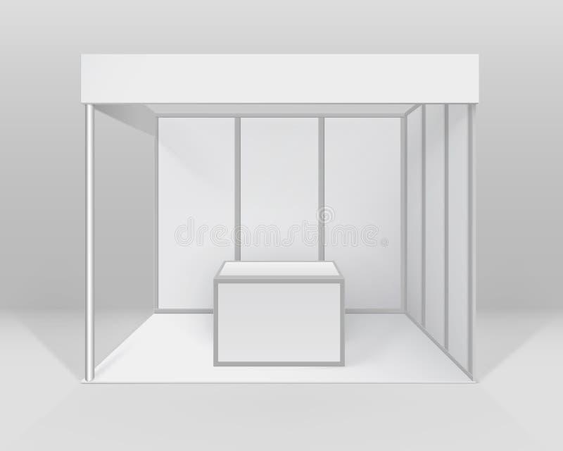 Vector el soporte estándar de la cabina comercial interior en blanco blanca de la exposición para la presentación con el contador stock de ilustración