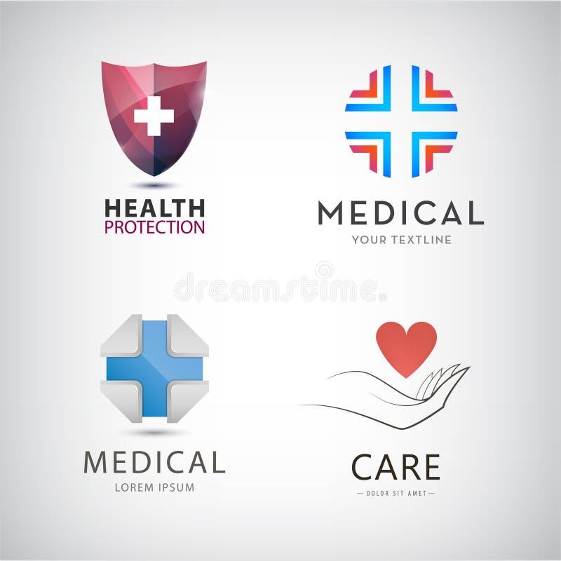 Vector el st de la cruz médica, protección sanitaria, logotipos del conectado a una máquina que mantiene las constantes vitales,  ilustración del vector