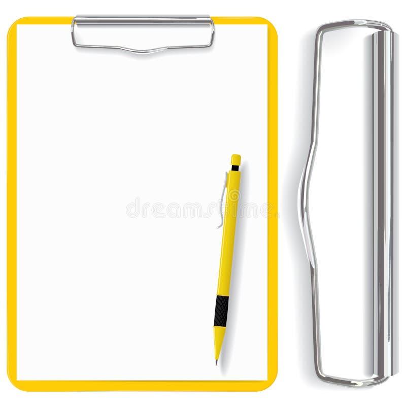 Vector el sujetapapeles detallado, la hoja de papel y la pluma stock de ilustración
