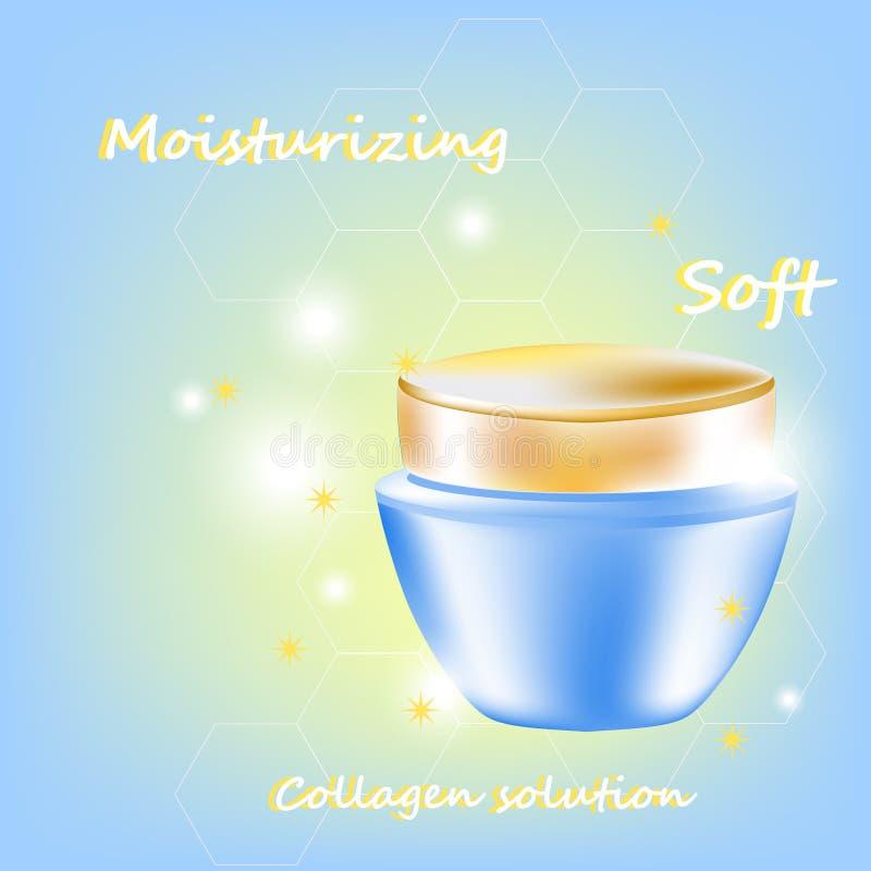 Vector el tarro poner crema con palabras y resplandores para la cosmetología y el cuidado de piel en tintes azules y de oro libre illustration